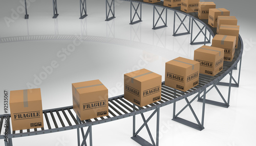 Photo Boxes on a Conveyer Belt.