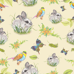 Fototapeta Vintage pattern with cute bunny
