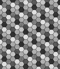 Panel SzklanyGray, Black and White Hexagon Mosaic Abstract Geometric Design T