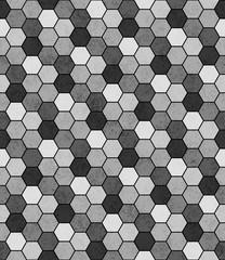 Fototapeta Wzory geometryczne Gray, Black and White Hexagon Mosaic Abstract Geometric Design T