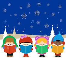 Children Singing Christmas Carols At Christmas Eve Night Outside In The Snow