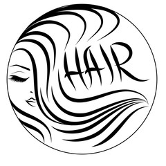 Fototapeta Do fryzjera hair wavy logo