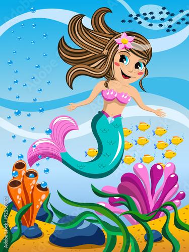 Little Mermaid swimming underwater Poster