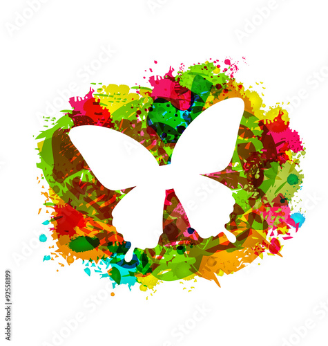 Foto op Canvas Vlinders in Grunge Simple White Butterfly on Colorful Grunge Damage Frame