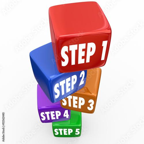 Fotografía  Step 1 2 3 4 5 Directions Instructions Cubes Blocks Tower