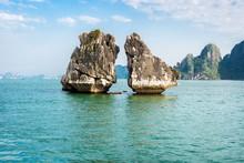 The Kissing Rocks In Halong Bay, North Vietnam.