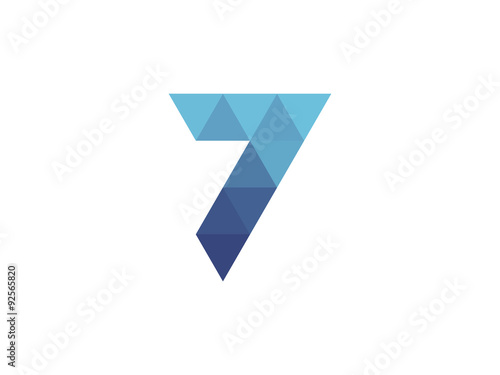 Poster  7 Number  Blue Triangle Geometric Logo