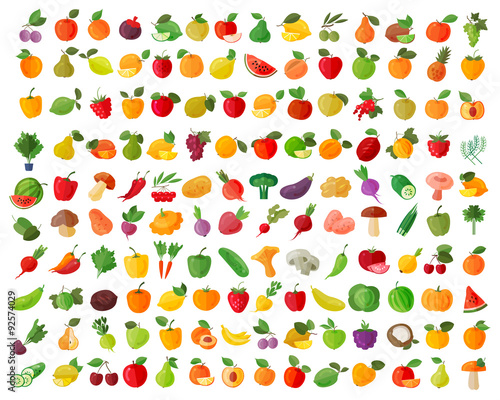 Papiers peints Cuisine fruit and vegetables color icons set