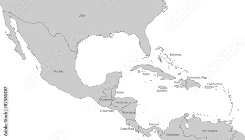 Südamerika Karte Ohne Beschriftung.Mittelamerika Karte In Grau Mit Beschriftung Kaufen Sie Diese