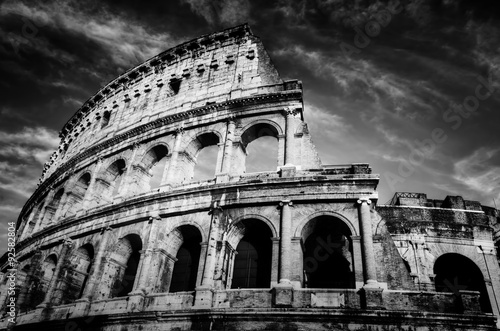 Foto op Aluminium Rome Colosseum in Rome, Italy. Amphitheatre in black and white