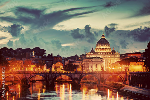 Poster Rome St. Peter's Basilica, Vatican City. Tiber river in Rome, Italy at late sunset, evening.
