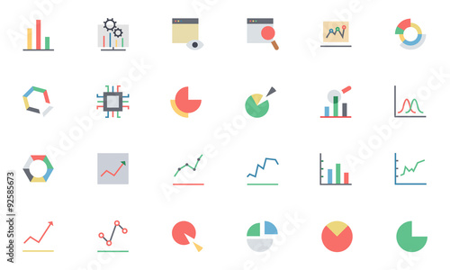 Fotografía  Data Analytics Colored Vector Icons 1