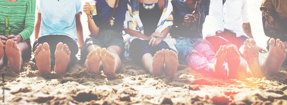 Fototapety, obrazy: Friends Beach Vacation Party Chilling Concept