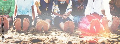 Obraz Friends Beach Vacation Party Chilling Concept - fototapety do salonu