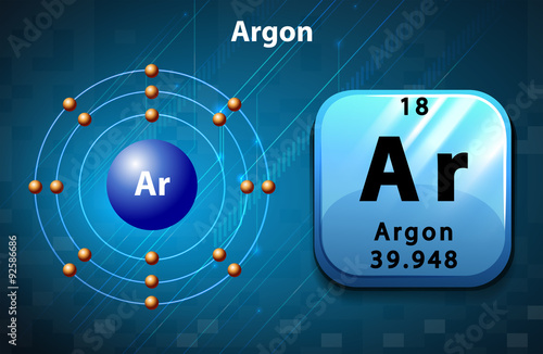 Symbol and electron diagram for Argon Canvas Print