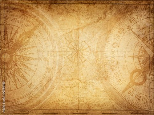 Ingelijste posters Schip Pirate and nautical theme grunge background