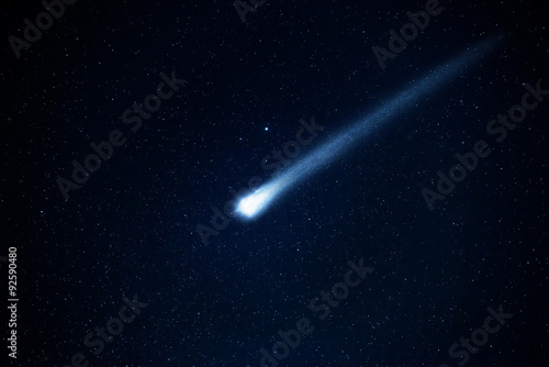Obraz Comet in the starry sky. Elements of this image furnished by NASA. - fototapety do salonu