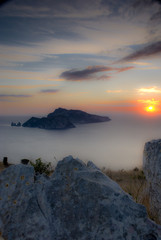 Panel Szklanycolori pastello nel tramonto a Capri