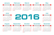 Simple 2016 Year Vector Calendar