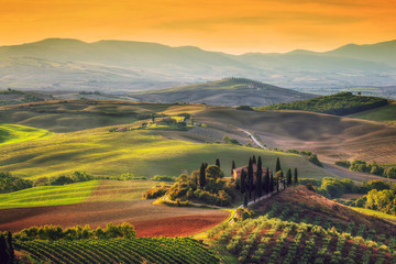 Fototapeta Tuscany landscape at sunrise. Tuscan farm house, vineyard, hills.