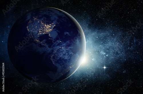 Foto op Aluminium Heelal Earth and galaxy. Elements of this image furnished by NASA.