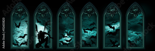 Fotografie, Obraz  Halloween banner with bats, a fallen angel or a vampire, windows and the moon