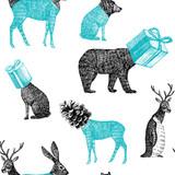 ręcznie rysowane zwierzęta zimowe bezszwowe tło - 92610018