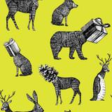 ręcznie rysowane zwierzęta zimowe bezszwowe tło - 92610066