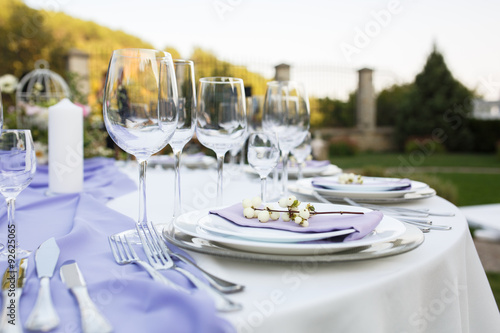 Fotografía  Configuración del vector en una boda de lujo u otro acontecimiento abastecido