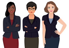 Business Woman Multi Ethnic In Suits Isolated On A White Background/Vector Illustration Of Multi Ethnic Business Woman