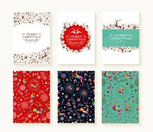 Merry Christmas Pattern Reindeer Greeting Card Set