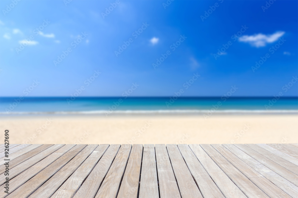 Wooden flooring and tropical beach