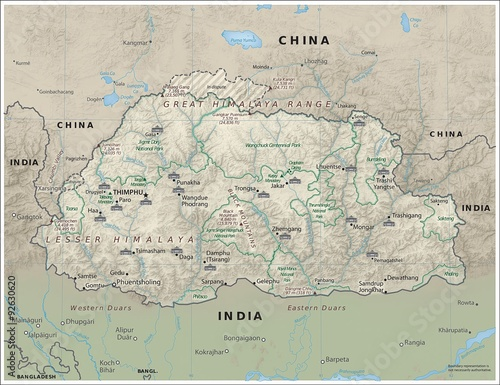 Bhutan physiography map - Buy this stock illustration and explore ...