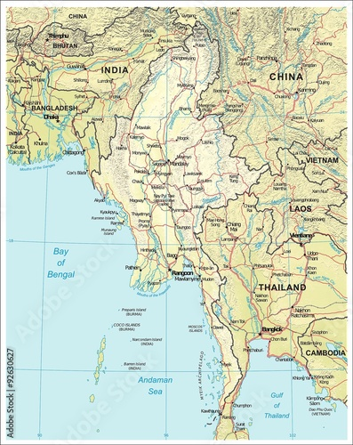 Burma Myanmar physiography map - Buy this stock illustration and ...