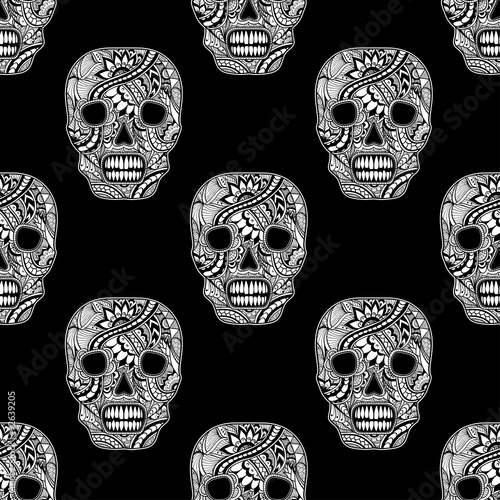 Seamless Pattern With Decorate Skull Painted Ornament White On Black