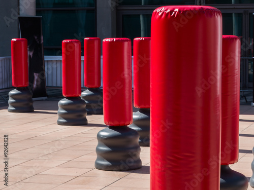 Group of Red Punching Bag for Kickboxing and Fitness Exercise Wallpaper Mural