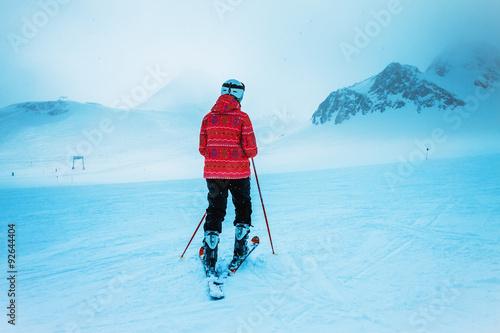 Poster Wintersporten skierl, extreme winter sport