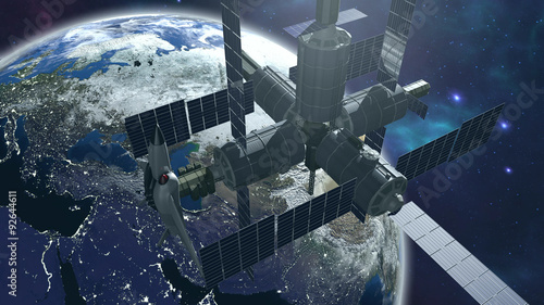 Space station with earth Wallpaper Mural