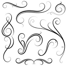Set Of Calligraphic Swirls