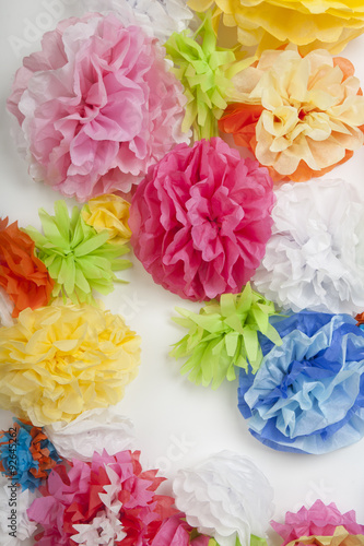 Wall Of Tissue Paper Flowers Buy This Stock Photo And Explore