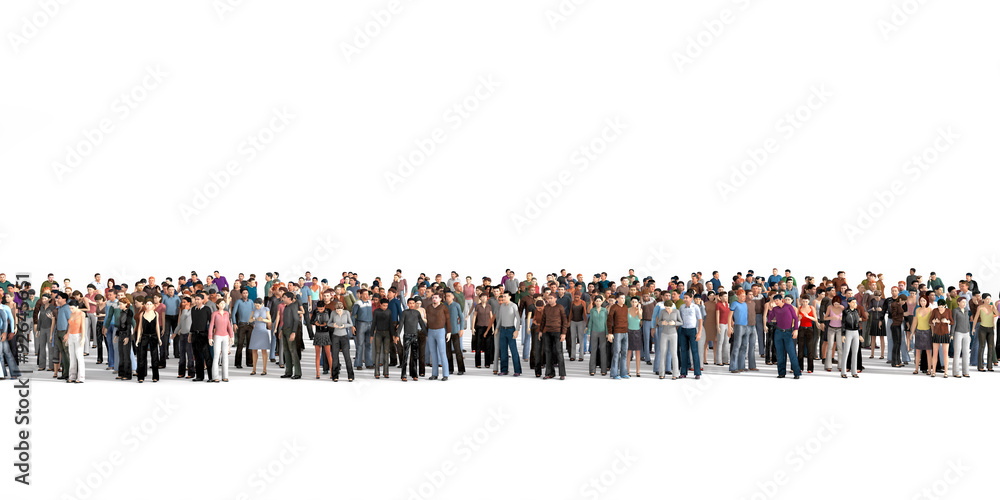 Obraz Crowd. Large crowd of people stay on a line on the white backgro fototapeta, plakat