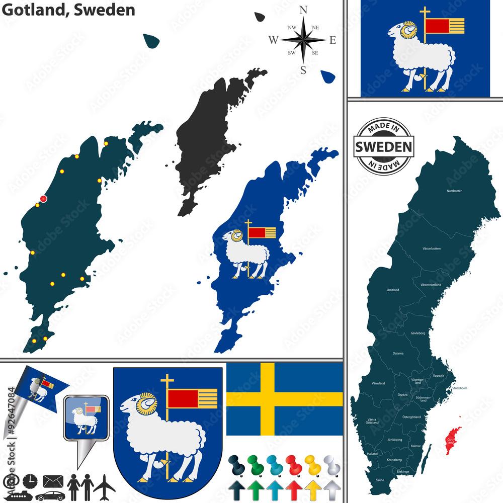 Map of Gotland, Sweden Foto, Poster, Wandbilder bei EuroPosters