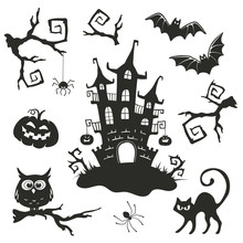 Halloween Objects Set Isolated On White Background. Collection Of Branches And Elements For Halloween Party Invitation Design.