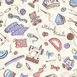 Hobby background. Crafting tools pattern. Handmade items seamless pattern.
