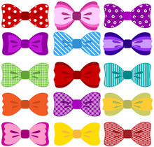 Bright Bow Set (elements Not Merged Together, Patterns Easily Removed In Vector Programs)