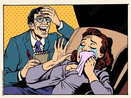 Fotografia  psychologist woman tears laughter