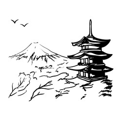 Naklejka landscape with Fuji mount, sakura tree and Japan pagoda illustration