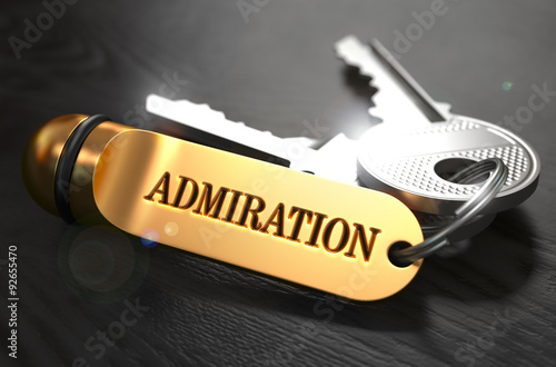 Keys with Word Admiration on Golden Label. Canvas Print
