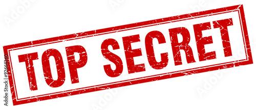 Fotografie, Obraz top secret red square grunge stamp on white