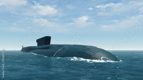 Foto  Russian Borei class submarine close up
